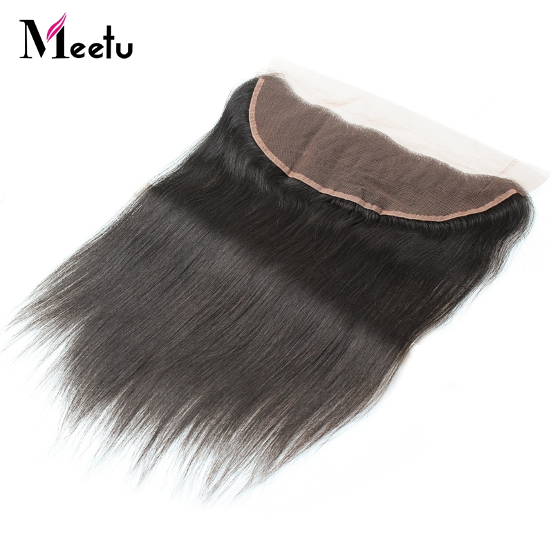 Meetu PrePlucked 13*4 Ear to Ear lace frontal Bleached Knots Indian Straight Hair 100% Human Hair Natural Color Non Remy Hair