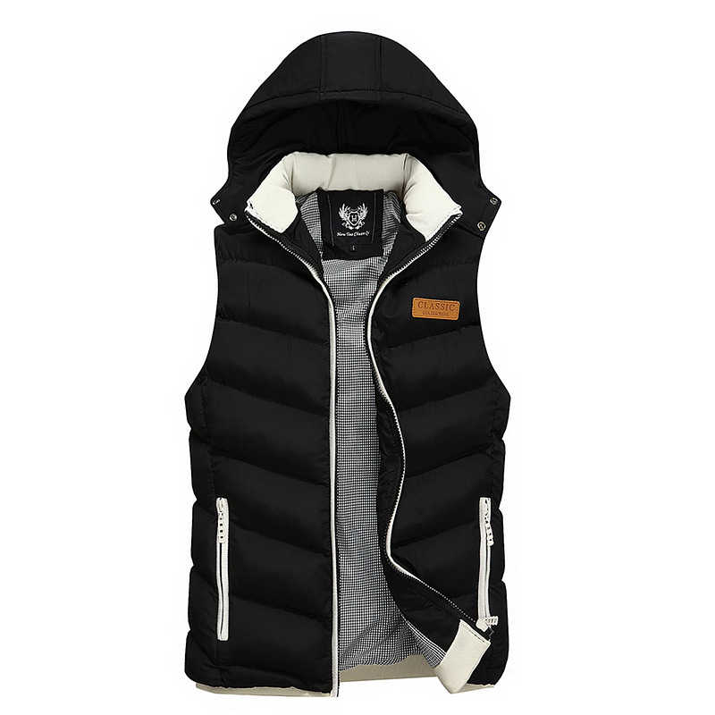 Korean Style Fashion Winter Men Vest Hooded Coats Casual Outwear Thick Warm Sleeveless Jackets Men British Classical Parka Homme