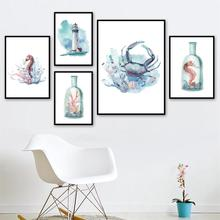 Seahorse Crab Lighthouse Conch watercolor Wall Art Canvas painting Nordic Posters And Prints Pictures For Living Room Decor
