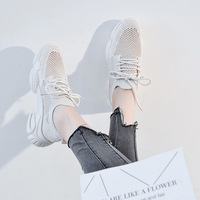 Casual Shoes Women Chunky Sneakers Platform Summer New zapatos de mujer Mesh chaussures femme Ladies footware Breathable Beige