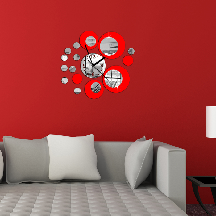 Red circle around wall sticker home decoration clock diy wall stickers home decoration removable vinyl wall stickers art decals in wall stickers from home