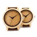 Bobo bird a09 casual de las señoras relojes de cuarzo reloj superior de la marca de relojes únicos para pareja de bambú natural en caja de regalo