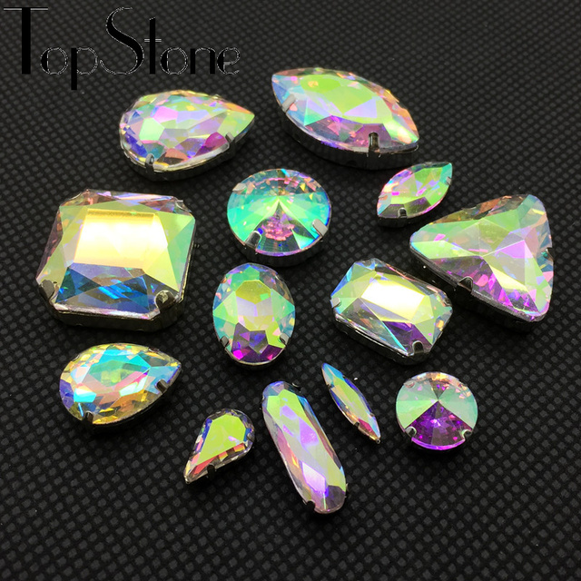All Shapes Sizes Crystal AB Color Sew On Rhinestones Sewing Glass Crystal  Stone with Metal Claw 4 Holes for Dress DIY Decoration 41b05eb444f0