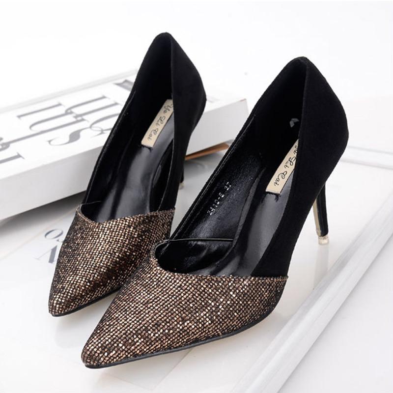 2016 New Brand Fashion font b Women b font Pumps Sequined Thin High Heel Pumps Shoes