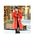2016 осень / зима корейский мода женщины шерсть тонкая утолщаются двубортный меховым воротником женская элегантный теплое пальто большой size1132