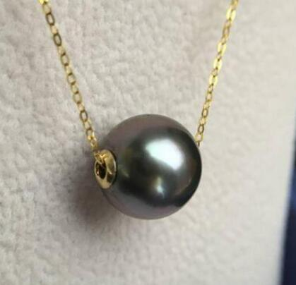 free shipping Tahiti Black Pearl Sea Passepartout Pendant necklace round light adjustable length