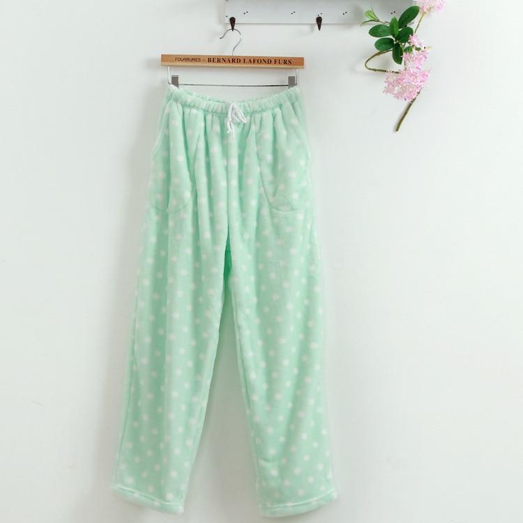Autumn Winter Lounge Pants Women Sleep Bottoms Dot Loose Flannel Pajama Pants Sleep Nightwear Indoor Clothing Pink Green