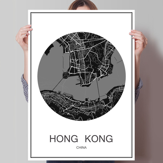 Famous world city map hong kong oil painting modern poster canvas coated paper abstract print picture