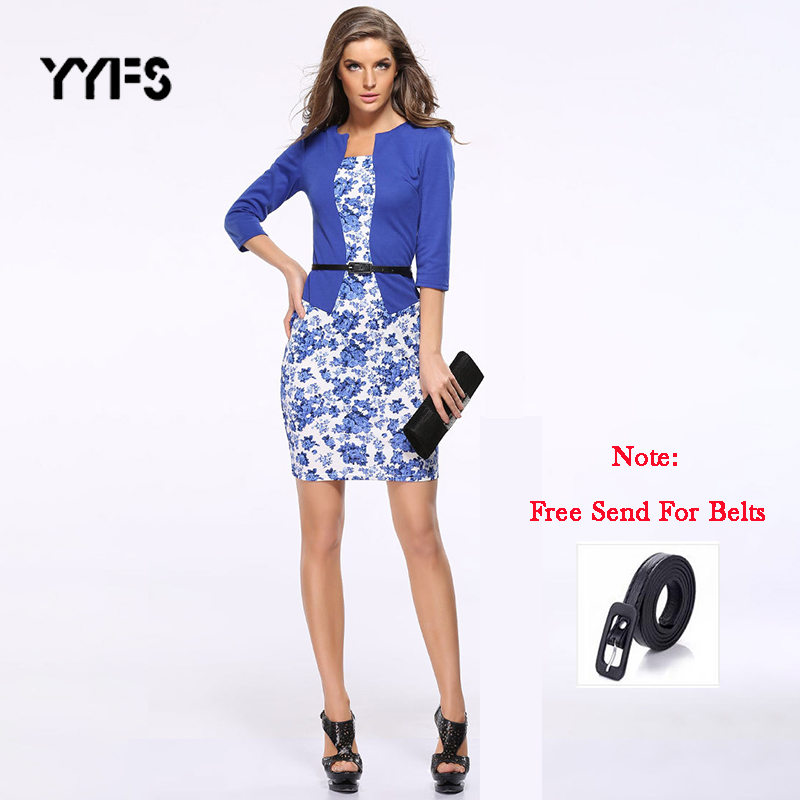 YYFS Fashion Women Career Dress Sets Formal Pencil Dress Suits Print Flower Plaid Office Wear Work Dress Clothes Free Send Belts
