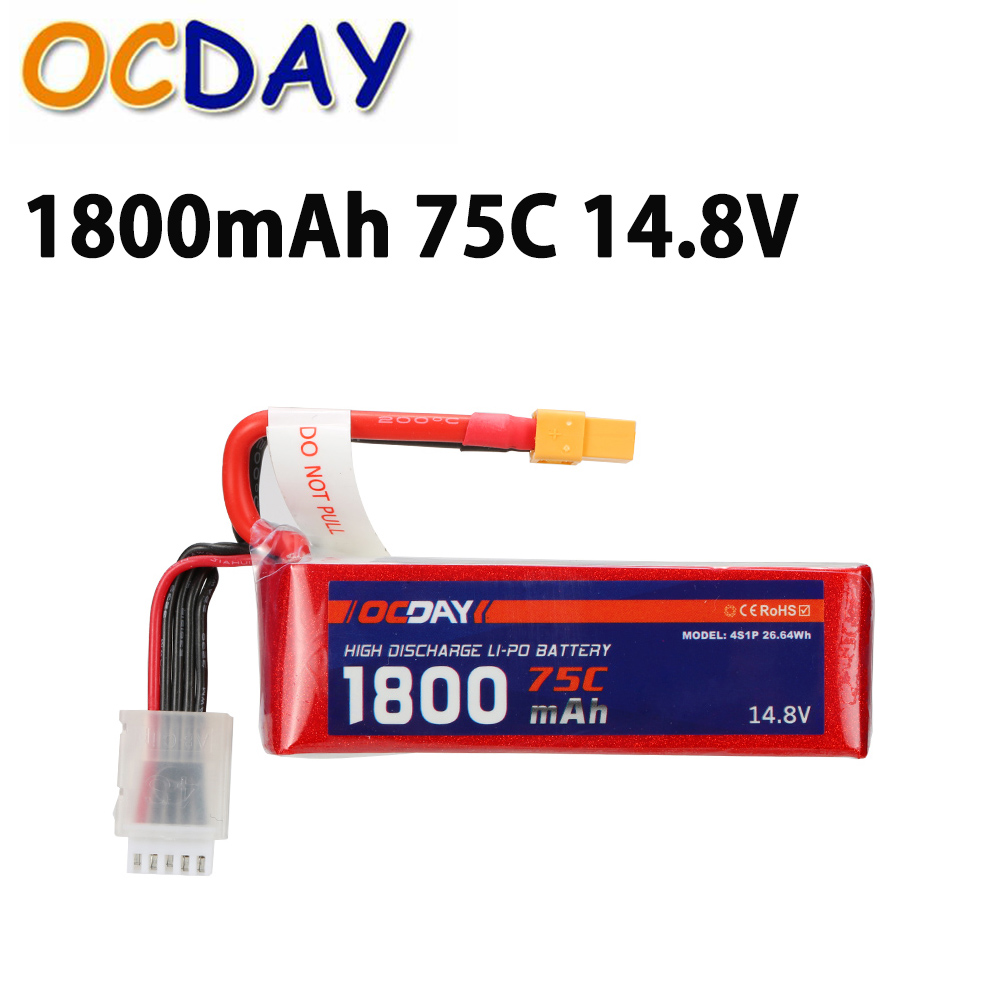 Wholesale 1pcs OCDAY Lipo Battery 14.8V 1800mAh 75C 4S XT60 Plug For RC Quadcopter Truck Buggy Bateria Lipo High Quality хомут ekf plc cb 4 8x250