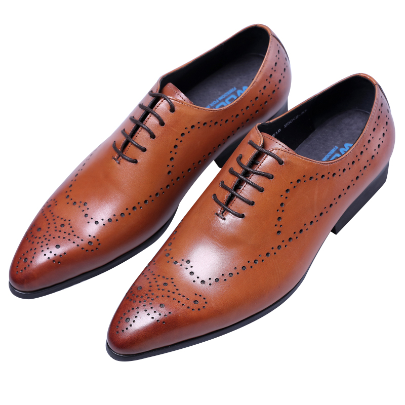 NEW Breathable Black / brown pointed toe oxfords business shoes mens dress shoes genuine leather wedding shoes man work shoes