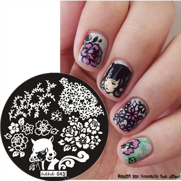 043 Round Nail Art Stamp Stamping Plates Template Leafs Ear Woman Flower Nail Art Stamp Template Image Plate hehe043 in Nail Art Templates from Beauty Health