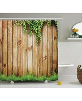 Rustic Shower Curtain Wooden Garden Fence Print For BathroomWaterproof And Fabric Washable Set With Hooks