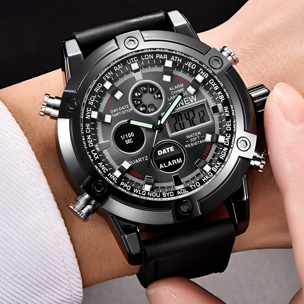 XINEW Watch Men Luxury Dual Movt Men's Leather Quarz Analog Digital LED Sport Wrist Watch Waterproof 3Bar Clock erkek kol saati