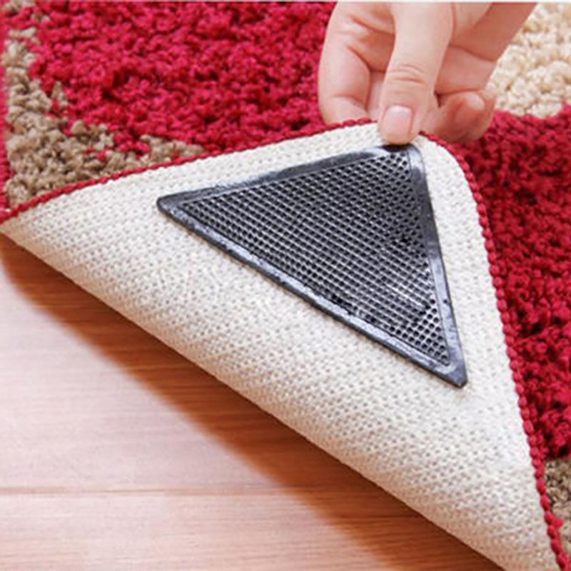 4pcs Rug Carpet Mat Grippers Non Slip Reusable Washable Silicone Grip Home Use For Bathroom anti slip tape