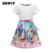 BRWCF Enfants Robes pour les filles 2017 Marque Blanche Neige Princesse Robe De Conception D'impression pour Bébé Filles Vêtements Pour Le Mariage 2-huit Années