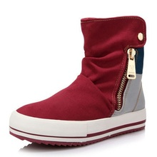 2016 New Red Blue Round Toe Platform Casual High-top Canvas Shoes Woman Zipper Shoes Student Flat Ankle Boots Botas