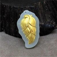 Yu xin yuan Güzel Takı Hetian 24 K Altın Yeşim Kakma Yaprak Kolye Kolye Charm Trendy Kolye Için Kadın Erkek hediyeler