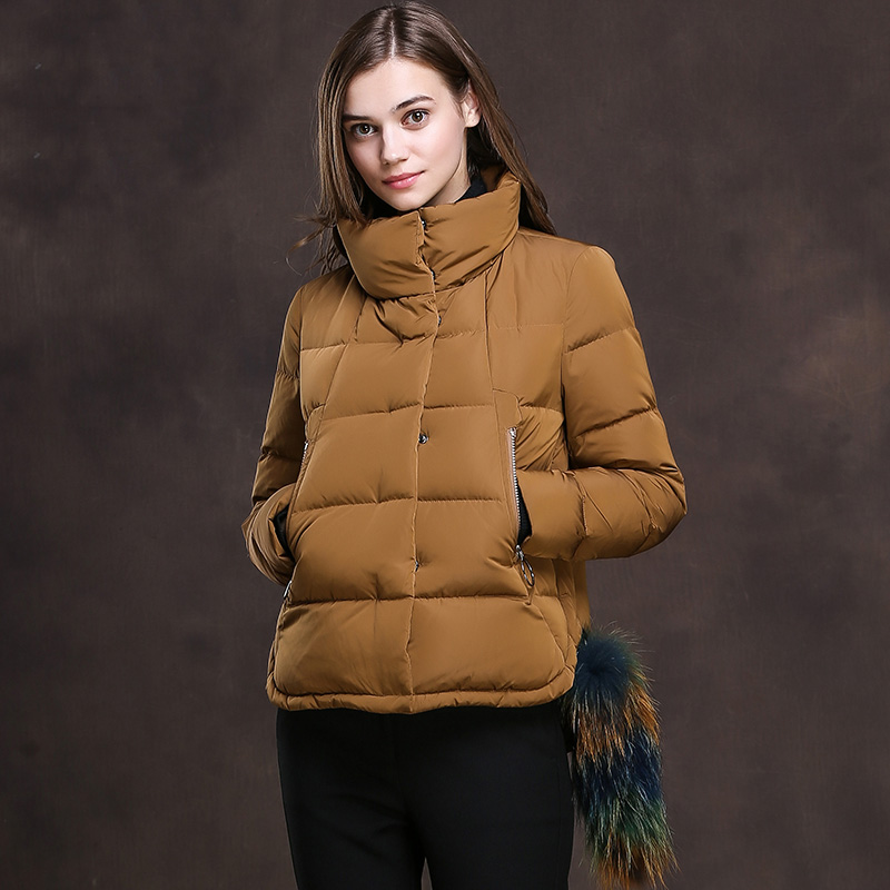 Loose fit stand collar white duck   down     coats   outerwear women short design 2018 style duck   down   jackets for autumn winter