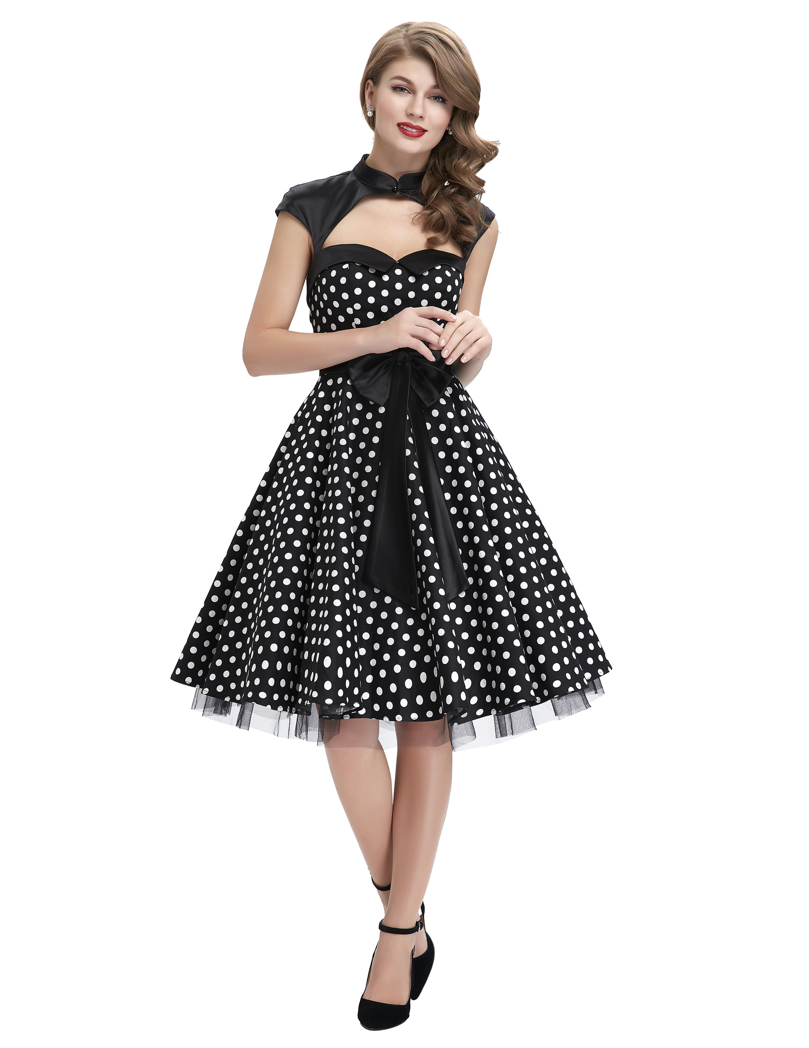 M 50s Vintage Polka Dot Womens Swing Bow Formal Evening Party Dresses M