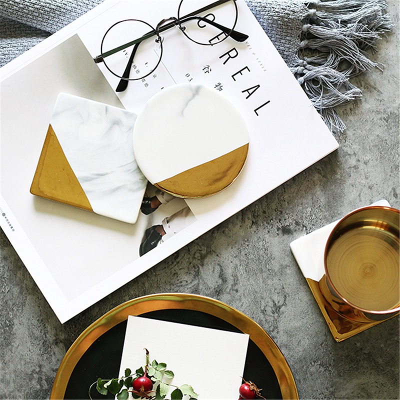 3 Styles Dali Marble Cup Mat Gold Marble Coaster Cup Mat