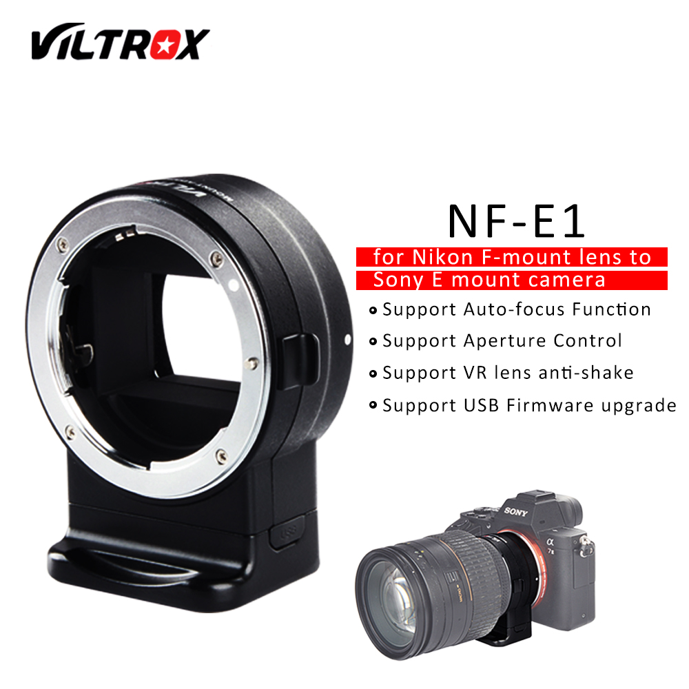 VILTROX NF-E1 Electronic Auto Focus Lens Adapter Aperture Control for Nikon F Lens to Sony E mount A9 A7 A7R A7SII A6500 Camera viltrox nf e camera lenses electronic aperture control lens adapter for nikon f to sony a7 r s m2