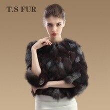 2016 New Genuine Silver Fox Fur Jacket Natural Fox Fur Coat Fashion Women Fox Fur Outwear Top Sale