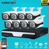 Новый супер 8ch HD AHD 4mp Главная Открытый безопасности Камера Системы комплект 6LED массив Товары теле и видеонаблюдения Пуля CCTV Камера P2P