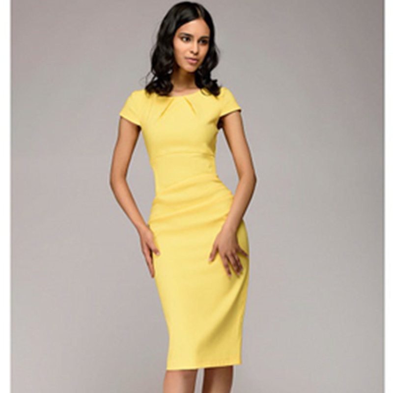 Summer 2018 Dress Women Solid Slim dress Short Sleeve Office Business Dress Elegant Sheath Party Vestidos