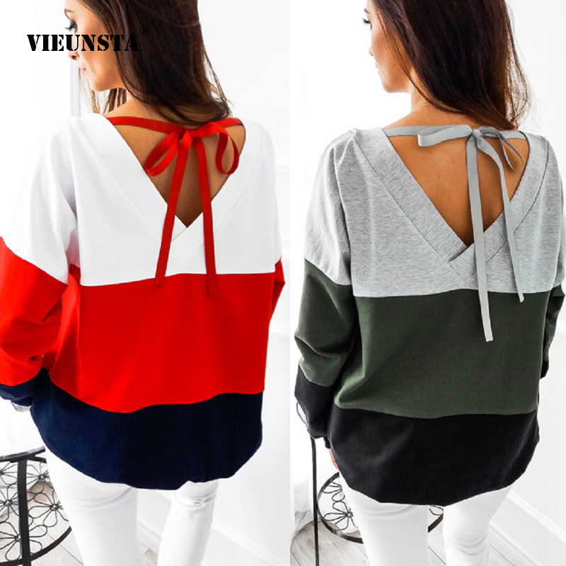 VIEUNSTA Sexy Backless Bandage Lace-up Sweatshirts Women Autumn Patchwork Pullovers Hoodies Casual Long Sleeve Tracksuit Tops