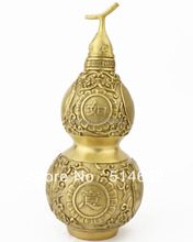 FENGSHUI 7 inch Brass RU YI Wu Lou For Health Sculptures Natural gourd statues J2247