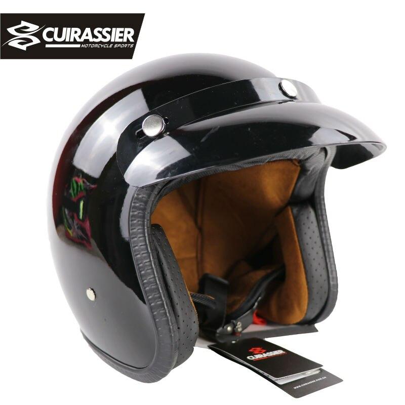 Cuirassier motorcycle motorbike helmet half face casque moto casco de motociclismo capacete motoqueiro motocicleta CH02 Black