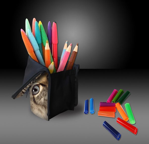 2 v 1 Peračník s držiakom stojanom na farbičky ceruzky perá Kozmetická taška s držiakom stojanom Make-up taška Vzor roztomilé zvieratko 3D tlač Mačka Pes Ceruzka Pero Kozmetika Denim Make-up Zatváranie na zips Vrecko Peňaženka Prenosné Cestovanie Travel