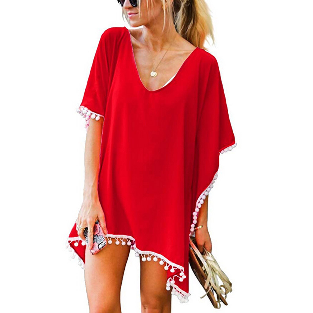 2019 Women Solid Pom Pom Trim Bikini Beach Cover Up Chiffon Swimwear Loose Beach Dress Beachwear Swimsuit Pareo Saida De Praia
