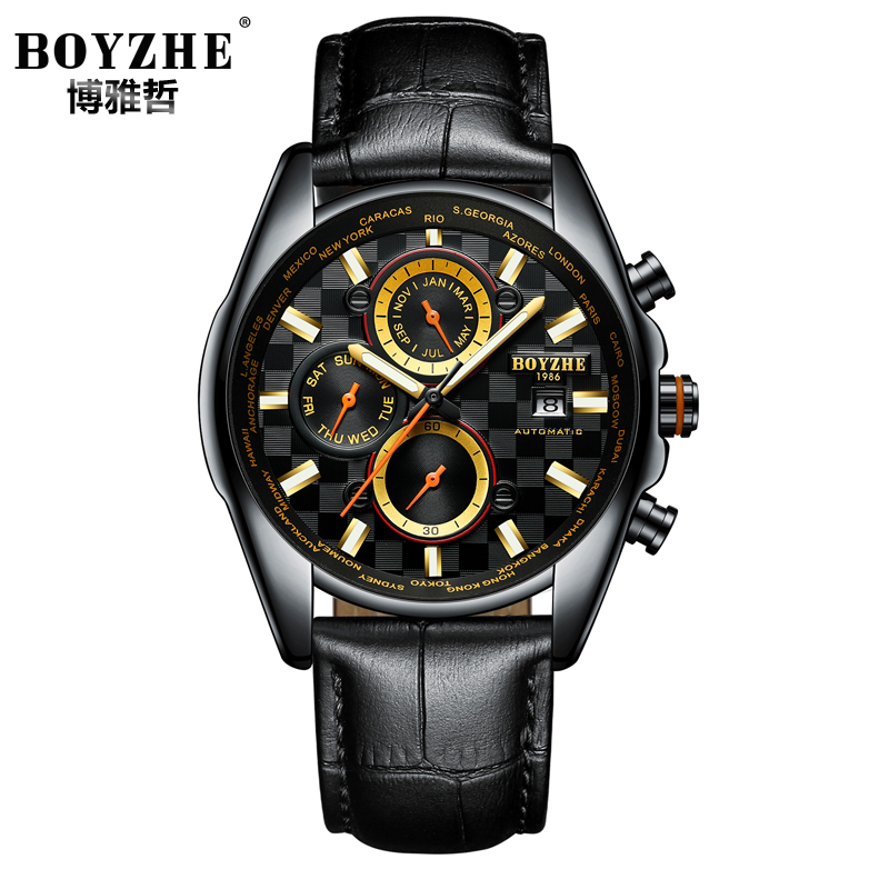 BOYZHE Mens Watches Top Brand Mechanical Automatic Watch Men Luxury Dress Calendar Male Hours Business montre automatique hommeBOYZHE Mens Watches Top Brand Mechanical Automatic Watch Men Luxury Dress Calendar Male Hours Business montre automatique homme