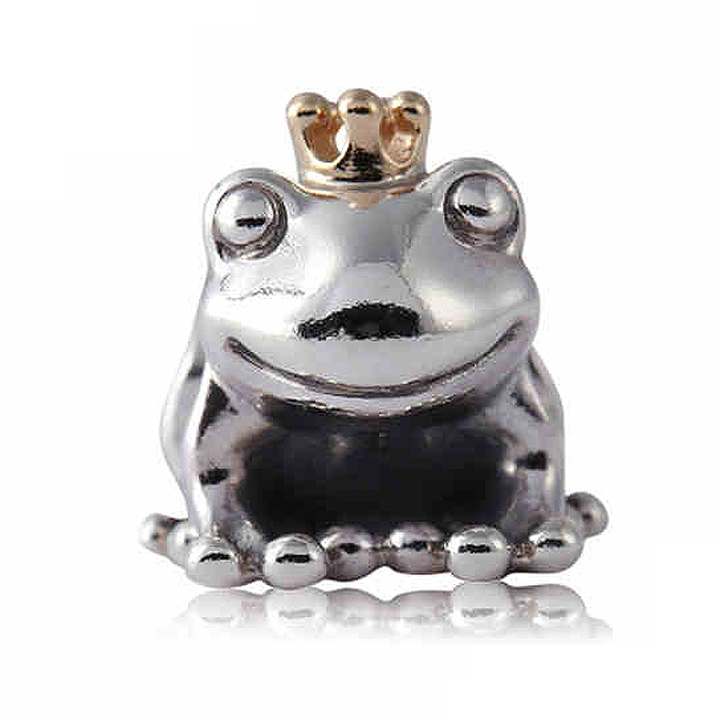 Authentic 925 Sterling Silver Bead Charm Cute Frog Prince With Gold Crown Beads Fit Pandora Bracelet Bangle Diy Jewelry
