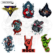 Nicediy Rock Zombie Patch Iron On Transfers For Clothes Thermal Transfer Press Hippie Skull Heat Vinyl Sticker Washable