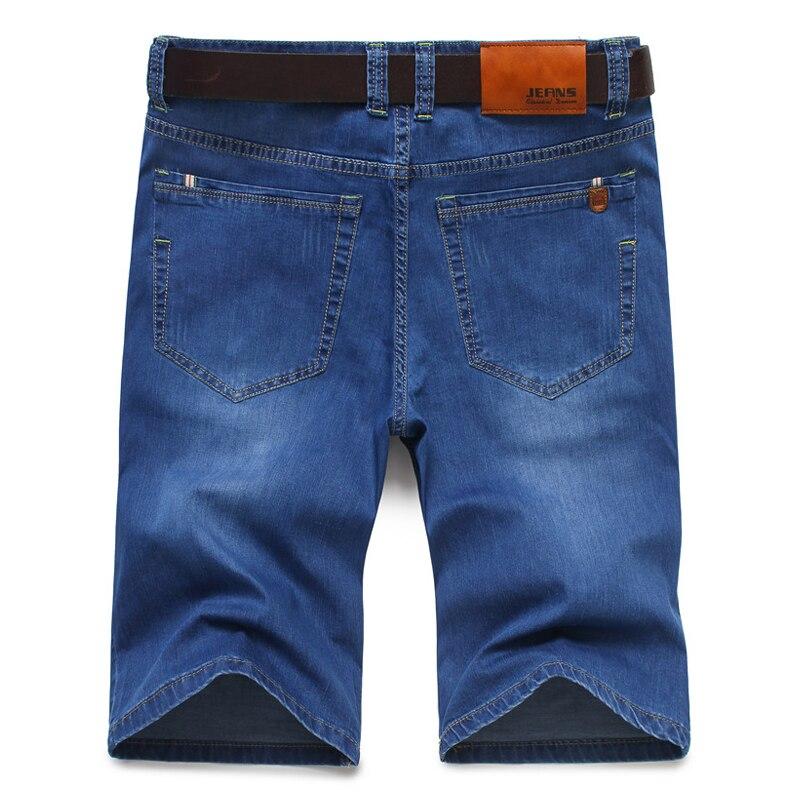 2019 Summer New Cotton Denim Shorts Men Jeans Bermuda Pocket Knee-Length Solid Blue Scratch Male Short Trousers Plus Size