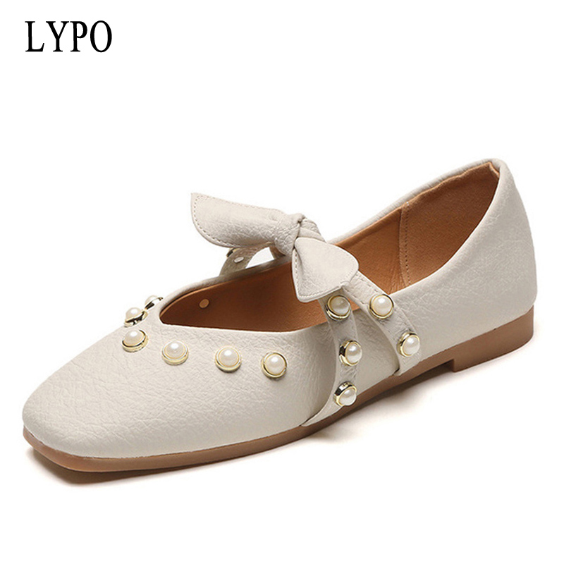 LYPO Spring summer shoes women 2018 new retro grandmother shoes Korean version pearl fashion shallow mouth bow flats shoes 2016 spring and summer free shipping red new fashion design shoes african women print rt 3