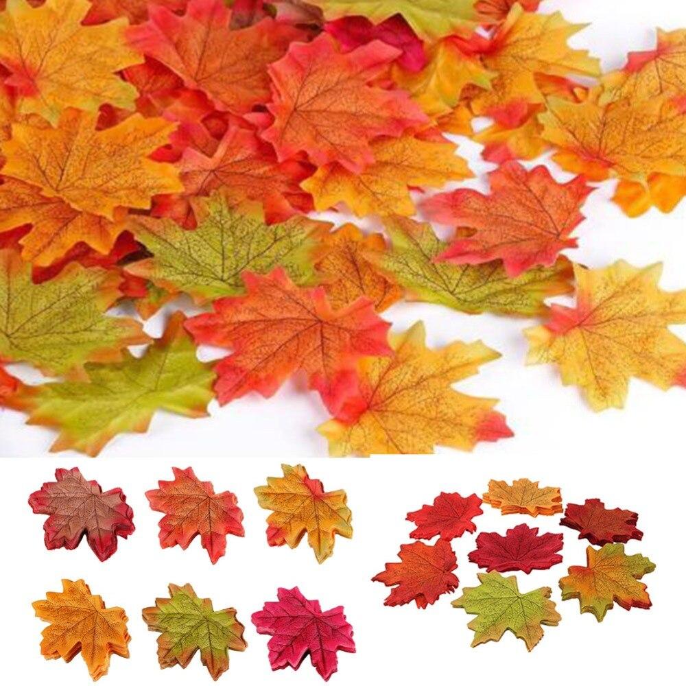 100 шт. Ассорти смешанные Осень Цветные декоративное украшение для дома: имитация кленовых листьев для свадьбы события и украшения
