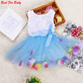 Горячие Продажи Kid Девушки Принцесса Платье Малышей Партия Туту Кружева Лук Цветочные Платья Мода Платье