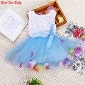 Venda quente Das Meninas do Miúdo Princesa Vestido de Festa Tutu Da Criança Do Bebê Lace Bow Flor Vestidos Moda Vestido