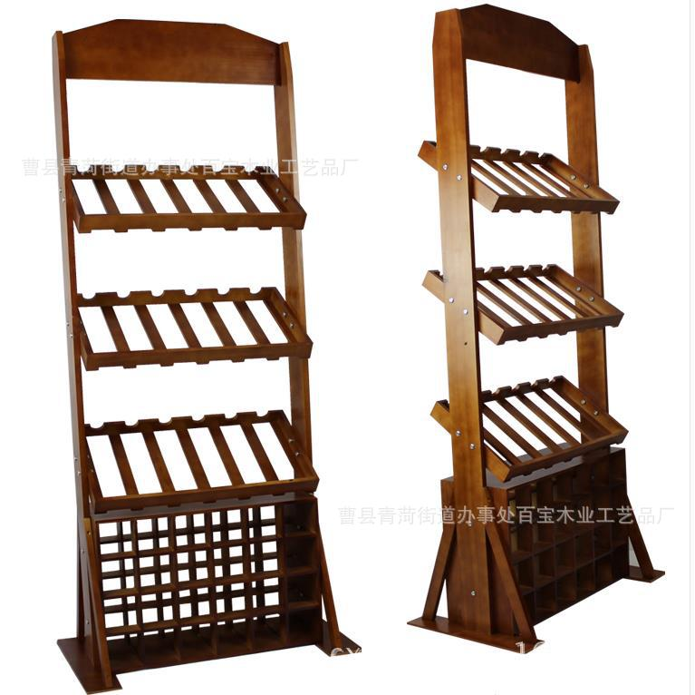 Vertical Wooden Frame Pine Wooden Wine Rack 42 Bottles Of