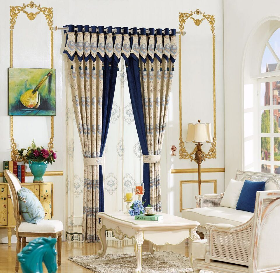 Blackout Curtains For Living Room Hotel European Simple: Blue European Luxury Window Blackout Curtain For Living