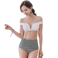 2017 Sexy Bikini Set High Waist Swimwear Women Biquini Retro Off Shoulder Swim Bathing Suit Zag
