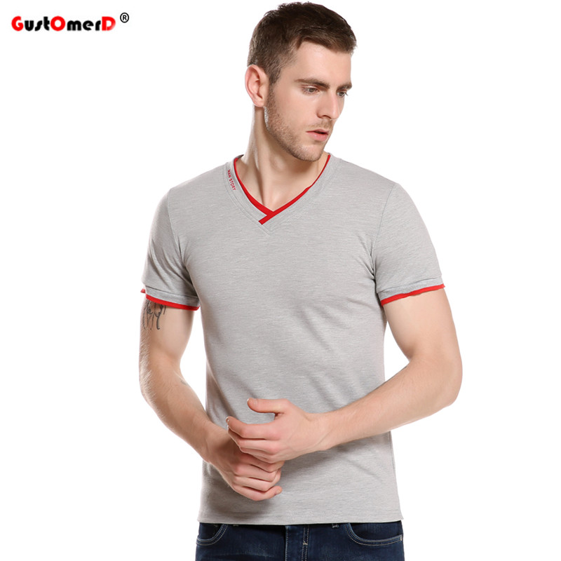 GustOmerD 2017 Summer Fashion Brand Clothing Men's Short-sleeved T-shirts V-neck Solid Color T-shirt Casual Slim Fit T Shirt Men