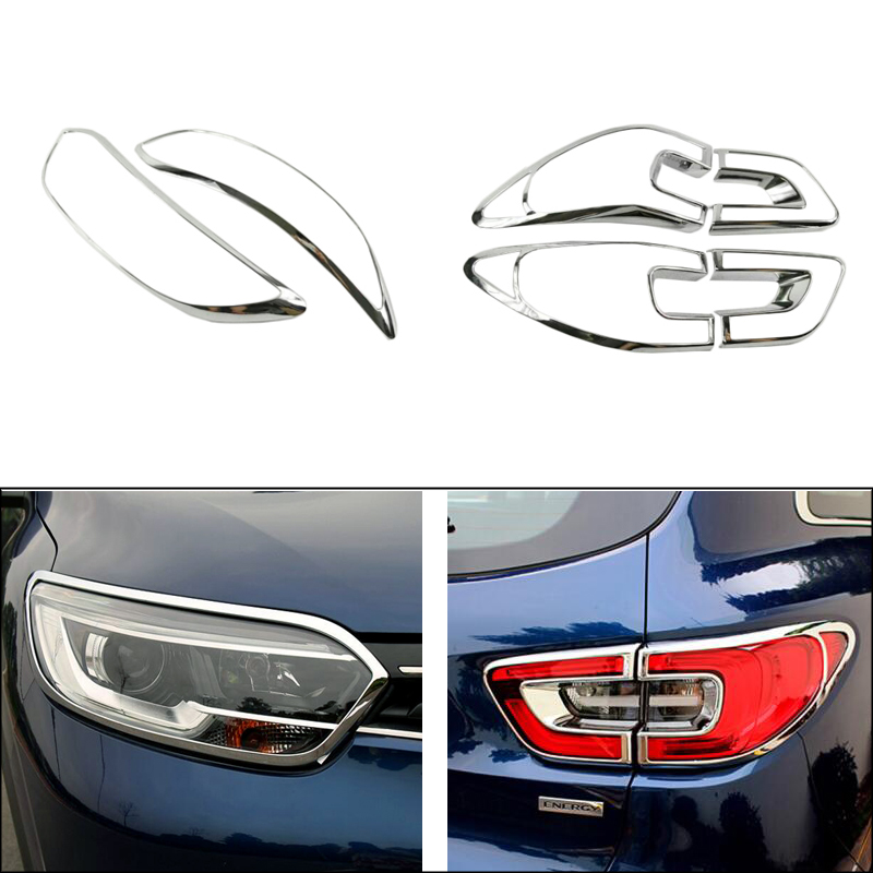 Front Lamp Cover Headlight Cover +Black Tail Light Rear Lights Decorate Cover Trim ABS Chrome For Renault Kadjar 2015 2016 2017 fit for vw volkswagen tiguan 2010 2011 2012 abs chrome front rear headlight tail light lamp cover trim car accessories