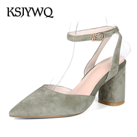 SJYWQ Summer Style Genuine Leather Women Sandals 7.5 CM Chunky Heels Pointed toe Green Pumps Buckle Shoes Woman Box Packing 5323