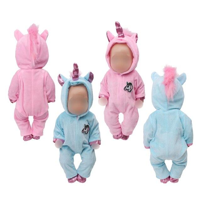 43 см для ухода за ребенком для мам детские куклы одежда; американский стиль новорожденных розовые синие комбинезоны костюм «Единорог», Детская Пижама с рисунками игрушки подходит 18 дюймов, с круглым вырезом, для девочек zf10