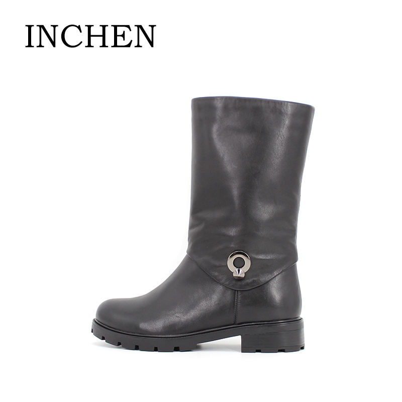INCHEN Wool Fur Genuine Leather Boots Metal Decoration Cow Leather Mid-calf Women Boots Low Heel Handmade Zipper Ladies Shoes 35 double buckle cross straps mid calf boots